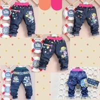 Girls' jeans blue Spring 2014 wear clothes children letter jeans denim pants baby trousers cartoon print pants
