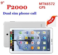 "9"" P2000 GSM phone calling tablet pc dual SIM card slot dual core MTK6572 1.2GHz 512MB GPS dual camera Android 4.1"