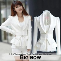 New Women White Big Bow Short Blazer Jacket Puff Sleeve HIGH Quality Jaquetas Feminina 2014 Spring S M L XL