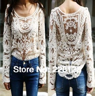 NEW 2014 Black/white Dress Sweet Semi Sexy Sheer Long Sleeve Embroidery Floral Lace Crochet Tee Top T shirt Vintage S M L XL(China (Mainland))