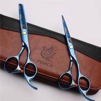 "6""  Professional Blue Hair Scissors Cutting and Thinning Scissors set  9CR"