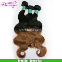Berrys Virgin Weave Beauty ombre hair two tone 1b&30,Brazilian body wave 100g/pcs 3pcs/lot,via DHL shipping, double wefts