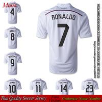 Real madrid home Soccer Jersey 2014 2015 JAMES shirt RONALDO football jersey SERGIO RAMOS ZIDANE MARCELO 14 15 free shipping