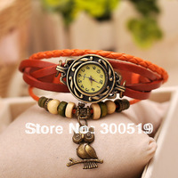 JW308 Vintage Ladies Watch Owl Pendant Item Hours Bead Bracelet Watches Retro Braided Genuine Leather Strap Watch