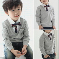 New Spring Autumn Children Clothing Boy Sweater V-neck Bow Tie Sweater Kids Fake Two Piece Long Sleeve T-shirt Clothes 5pcs/lot