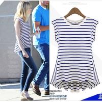 ZA** plus size 2014 new autumn cat print T shirt women's black striped long sleeve knit T-shirt stitching institute striped tops