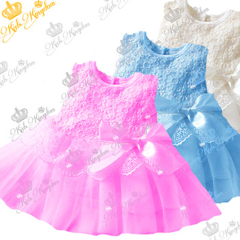 Wholesale! 2013 baby girls princess vest lace dresses children cotton ball gown dress kids bow clothes 5colors high quality