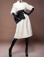 Fashion vintage hepburn 2013 elegant noble fur coat overcoat women outerwear A free gift for you