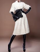 Fashion vintage hepburn 2014 elegant noble fur coat overcoat women outerwear A free gift for you