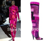 Free Shipping Geometric Patchwork Fur Over Knee Real Leather Boots for Womens