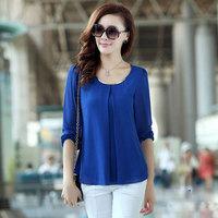 New Arrival 2015 Autumn Fashion Candy Color Women's OL Elegant Long Sleeve Chiffon Shirt Blouse Tops Plus Size S-XXL