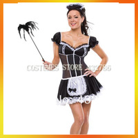 Free Shipping Rretail(1 pieces)and Wholesale Adult Plus Size Sexy Costumes French Maid Dress Women Carnival Costume JSWC-1079