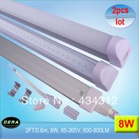 Free shipping 2pcs/lot  T5 led tube lamp light 8W 2FT/600mm/0.6m 600-800LM 85-265V  SMD3014 CE/RoHs