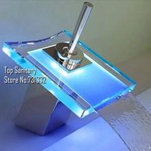tb2028 led-licht wasserfall bassinhahn chrom poliert hahn rgb farbwechsel temperaturregelung torneira banheiro hansgrohe(China (Mainland))