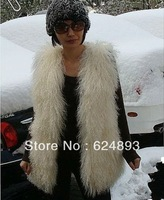 Common Style Mongolian Lamb Fur Vest/Pure Color White free shipping