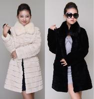 Autumn and winter women rex rabbit hair overcoat fur coat outerwear trophonema medium-long slim