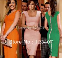 Newest Women Elegant Summer Sleeveless Square Collar Back Full Zipper Bodycon Knee-Length Party Pencil Dresses S-XXL