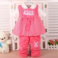3 autumn lovely children's clothing female child -piece Set children's vest  + t shirt + pants suits baby girls Clothes baby set