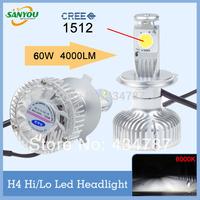 Hotest 1 Set 60W 4000LM 6000K H4 Hi/Lo Beam CREE led car headlight fog lights auto lamp h4 bulb