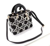 Famous brand vintage handbag Elegant Velvet lace pearl women handbags ladies classic mini totes white black retro purses wallet