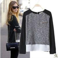 European Style All-Match Zipper Irregular Design Cotton Blends & Polyester Patchwork Pullover Women's Knitted Sweater nz128