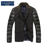 2013 Winter PU Leather Sleeve Formal Duck Down Jacket Thermal Woolen Spliced Outerwear Brand Design Plus Large Thicken Blazers