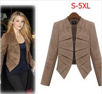 2014 New Autumn  Women's leather Coat Plus Size  XXXXXL Female Star Fashion Jacket  Free Shipping