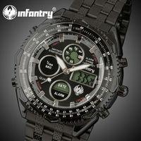 INFANTRY Royale Aviator Pilot Analog LCD Men's Sport Quartz Wrist Watch Stainless Steel NEW Relogio Digital De Pulso