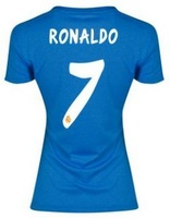 13 14 New Women Real Madrid Soccer Jersey Blue Girls football Uniforms Away Blank Ronaldo Kaka Ozil  Best Thai Player Version