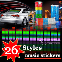 26 design Sound Rhythm Music Activated EL Equalizer Car decration Sticker Glow Flash Panel Multi Designs LED car music light