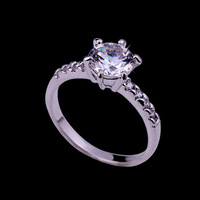 New fashion romantic Cubic Zircon ring silver plated Bridal Wedding Ring CZ Valentine's Day gift for girls