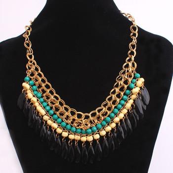 Ethnic Bohemian Handmade Layered Beads Tassel Bib Multi-colored Beaded Water Drop Pendant Necklace
