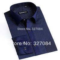 100% Cotton 2015 Boze new Fashion Polka Dot Casual Shirts dress shirt Long Sleeve For Men Free Shipping YH015