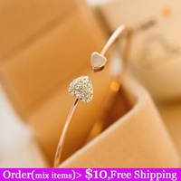 Hot Sale Gold Plated Sweet Double Heart Full Rhinestone Love Bracelet Gift Bangle For Women