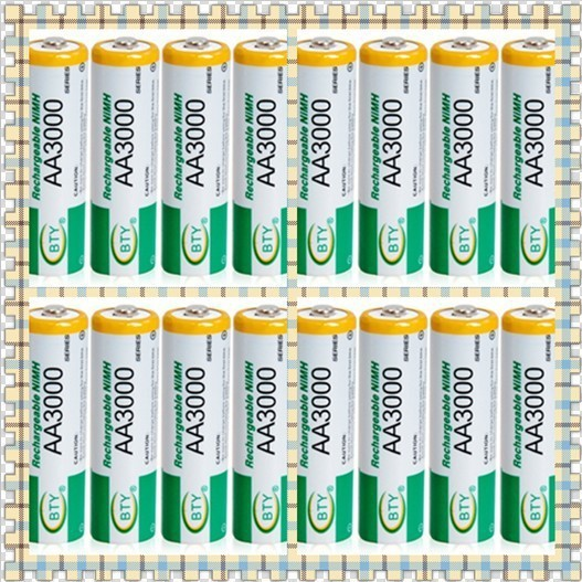 High Perfomance BTY 1.2V 3000mAh AA Rechargeable NiMH Batteries Set of 16, Rechargeable Batteries 2A(China (Mainland))
