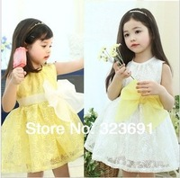 Retail girl birthday dress 2014 children dress  Princess dress Big bowknot dress for summer