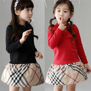 2014 spring and autumn plaid patchwork girls clothing cotton girls long-sleeve dress girls dress fashion dresses