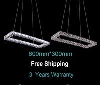 Free shipping Modern Rectangle LED crystal Pendant lights 600*300mm for home livingroom lighting 3 years warranty fast shipment