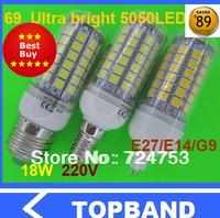 NEW Arrive Ultra bright 18W E27 5050 69LED Corn Bulb Light LED Lamp 200V-240V 360 degree white / warm white ( high brightness )