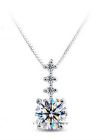 Korean Fashion 925 Silver Pendant Necklace AAA Zircon For Women Platinum Plated