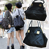 2013 Black color New Pattern Faux Leather Korean Women's Lady Big Handbag Tote Bag Shoulder Bags