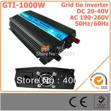 1000W 24V Grid Tie Inverter, 20-40V DC to AC 190-260V Pure Sine Wave Inverter for 1000-1200W 24V  PV Module or Wind Turbine(China (Mainland))