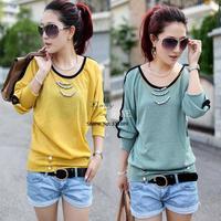 Best Selling 3pcs/lot Women's T-Shirt O- Neck Loose Batwing Shirt Long Sleeve Top Blouses 6 Colors 8027