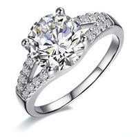 Wholesale 2 ct Excellent Cut wedding anniversary Engagement silver SONA synthetic diamond ring for women white gold 14k plated