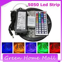 5050 LED Strip RGB 5M 300 LEDS IP65 Led Diode Tape Waterproof RGB SMD 5050 300 LEDs/Roll +44 keys IR Remote+12V 6A Power Adapter