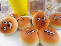 New Arrival 5cm Kawaii Cartoon Expression Rare Squishies Bread Bag Charm Free Shipping Squishy Bun/Mobile Phone Straps