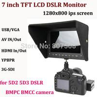 Portable1280*800 IPS Screen HD 7 inch TFT LCD Monitor for DSLR with HDMI/YPBPR/SDI/AV/VGA 3G-SDI 5D2 BMPC BMCC video Monitor