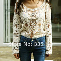 2014 Hot Sale Women Sexy  Embroidery Floral Lace Crochet M Size Tops Retro  Blouse  Lady Loose Shirts