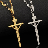 Cross Necklace Women/Men Jewelry Wholesale Trendy 2 Colors Platinum/18K Real Gold Plated INRI Crucifix Jesus Cross Pendant P327