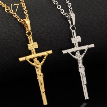 Crucifix Necklace Women/Men Jewelry Wholesale New Trendy 2 Colors Platinum/18K Real Gold Plated INRI Cross Pendant Necklace P327